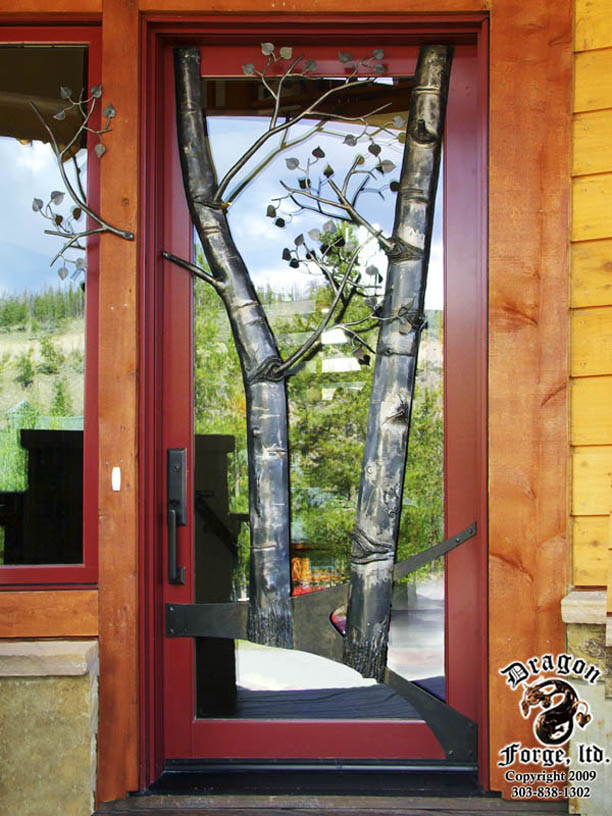 Front Door With Hand Forged Metal Aspen Trees 8 Dragon
