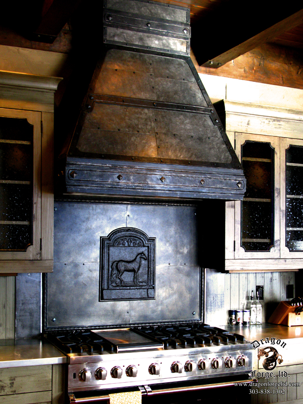 amercian style craftman kitchen stove hood dragon forge