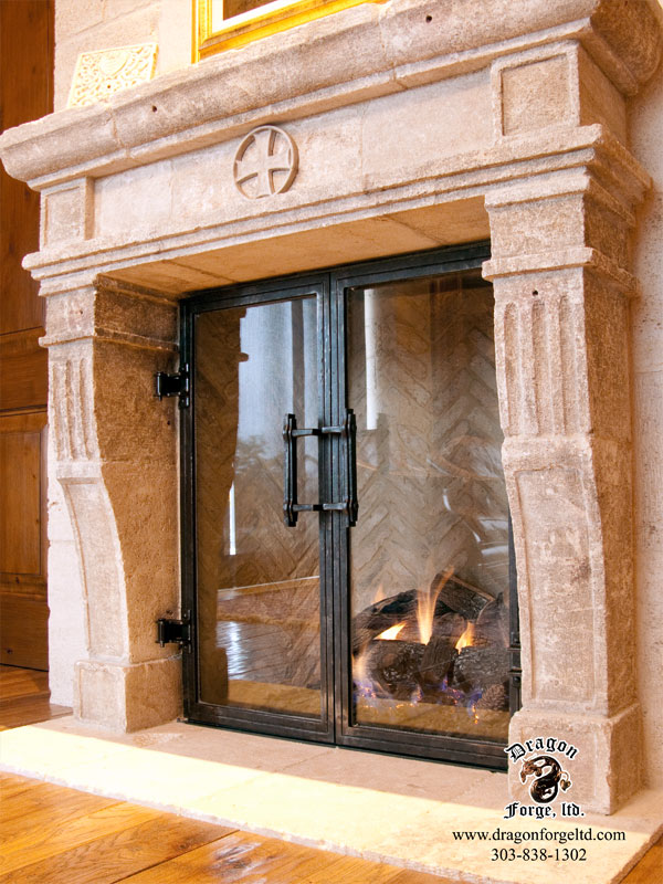 Custom-Fireplace-hand-forged-blacksmith-doors