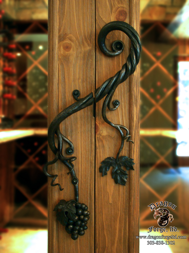 Forged Wine Cellar Door Pull with Hand Forged Grapes