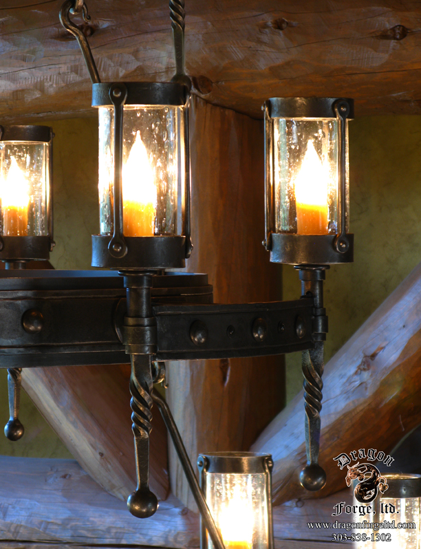 American Craftsman Style Chandelier Detail of Sconce