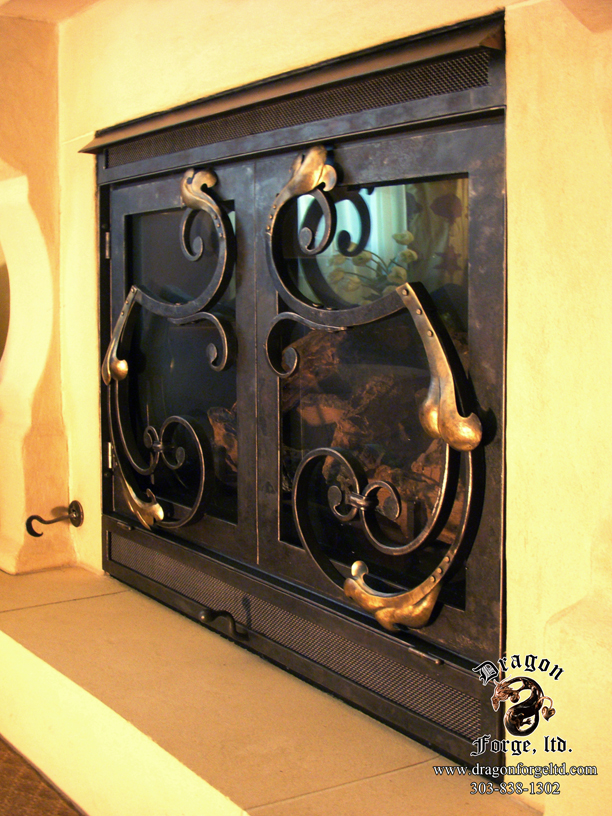 Snub end scroll Fireplace Doors with Repoussé Leaves