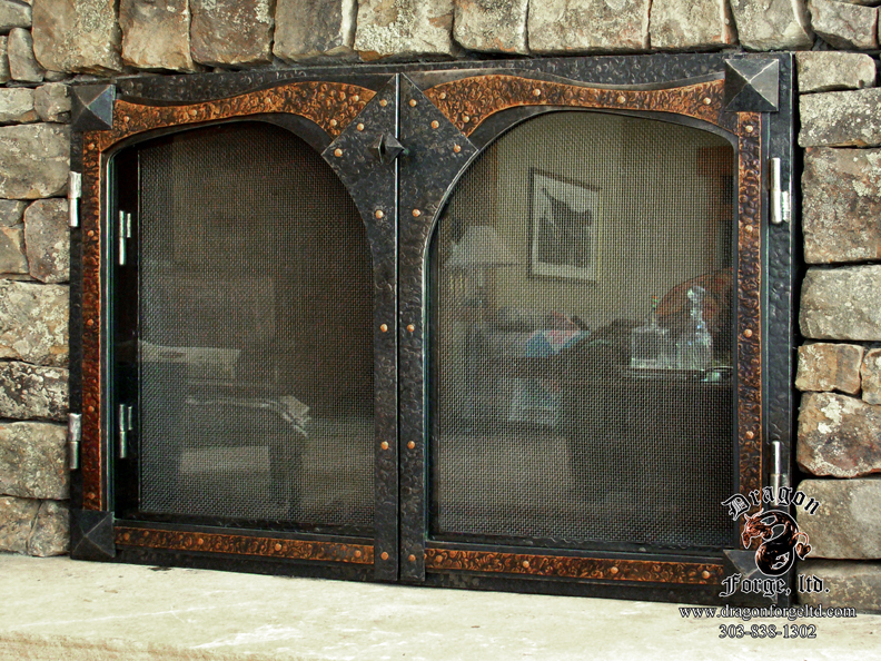 Glass and Screen Fireplace Door with Copper Accents