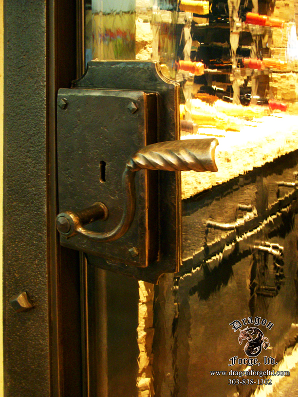Forged Wine Cellar Door with Functional Lock