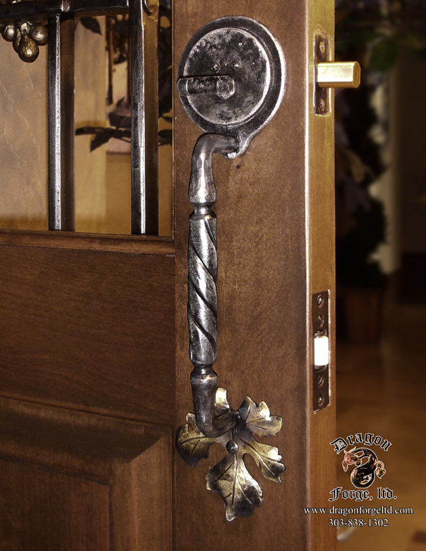 Forged Wine Cellar Door Pull with Dead Bolt