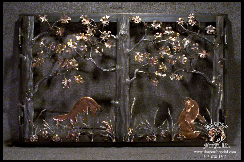 Leaping Copper Foxes Fireplace Doors