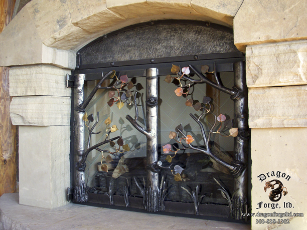 Forged Aspen Tree Fireplace Doors