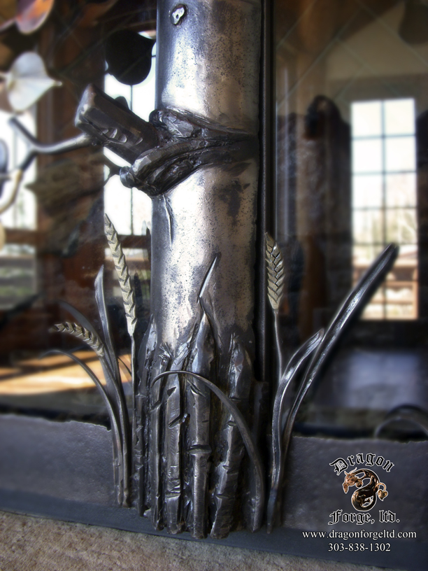Forged Aspen Tree Fireplace Doors (details)