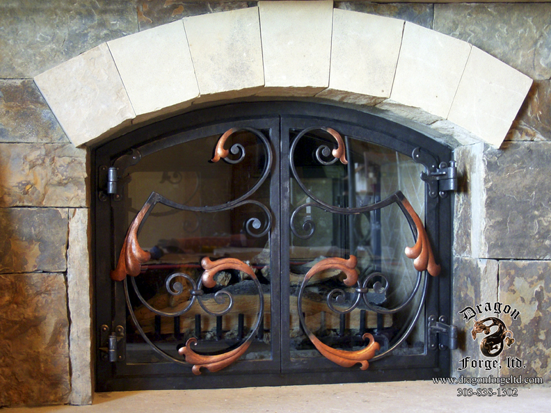 Acanthus Hand Forged Metal Fireplace Doors
