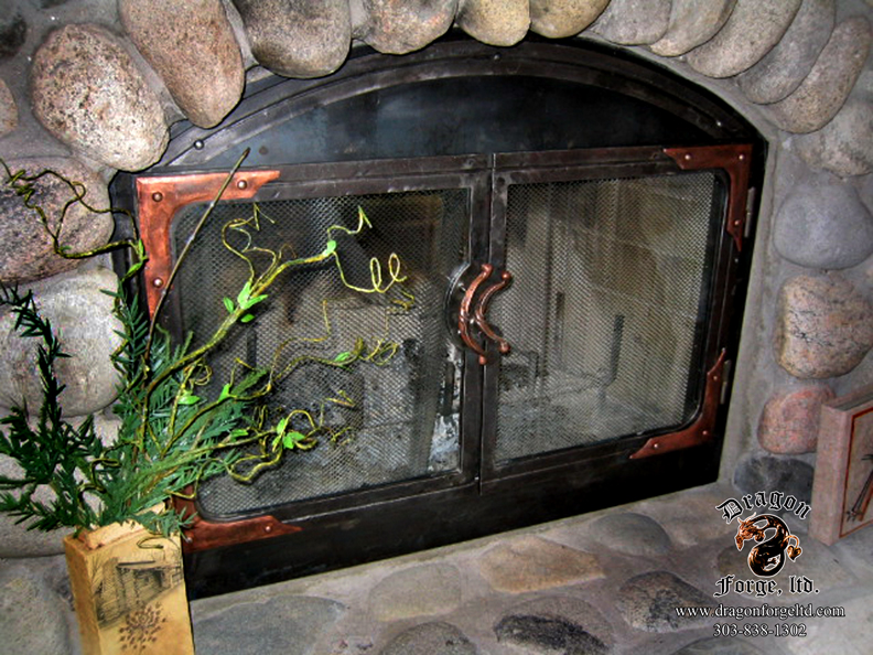 Custom Hand Forged Steel Fireplace Doors with Copper Accents