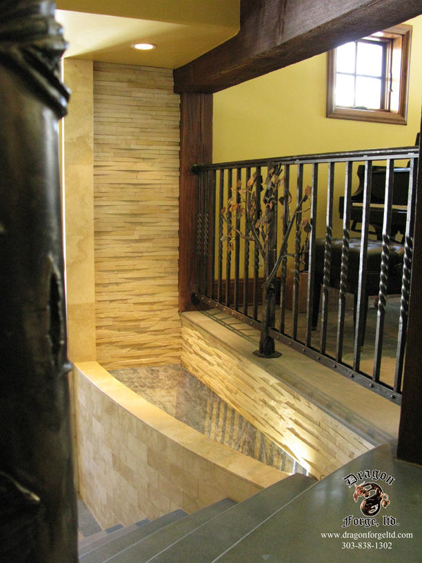 Metal Aspen Tree Null Posts with Forged Balusters