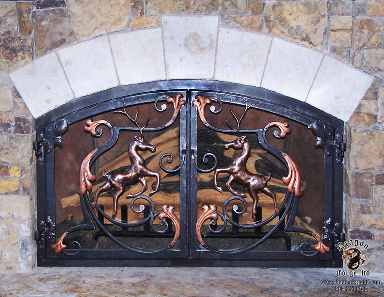 Forged Bronze Leaping Stags Fireplace Doors