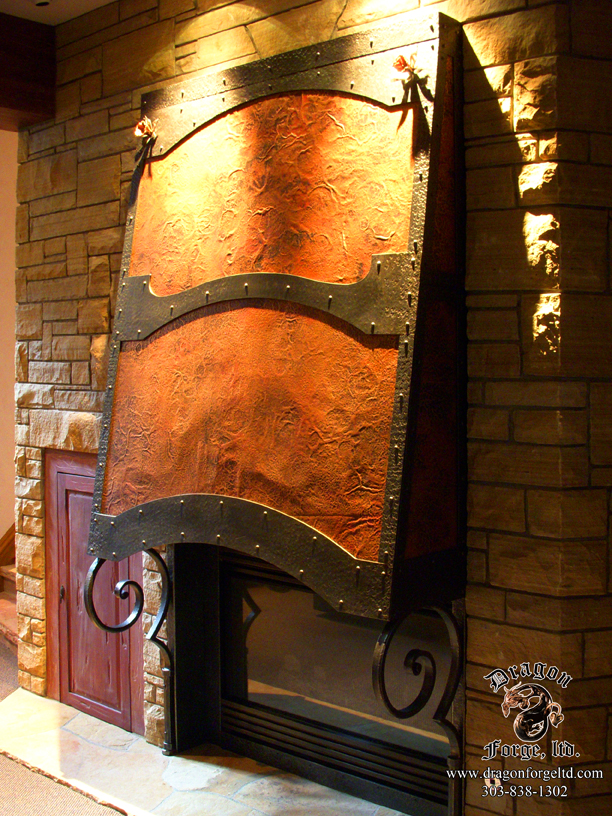 Forged Copper and Steel Fireplace Hood with Scroll Brackets