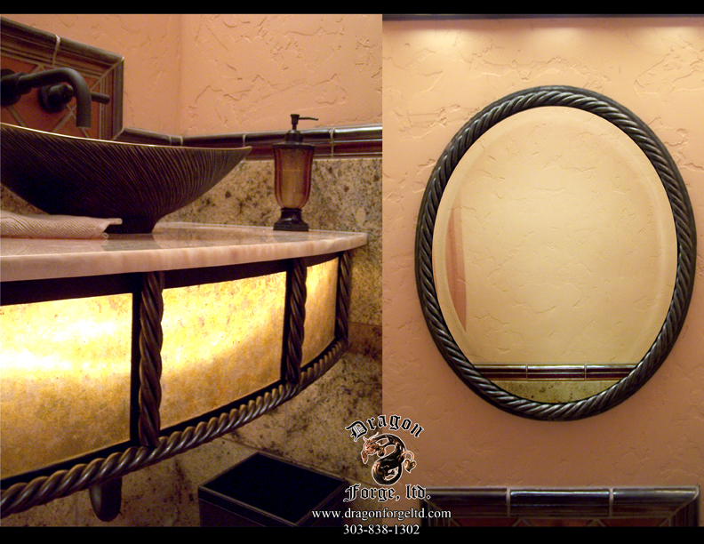 Forged Metal Decorative Mittor and Sink Base