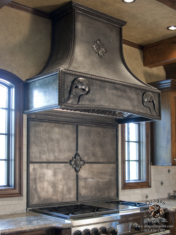 Steel Kitchen Stove Hood with Repoussé Acanthus Leaves
