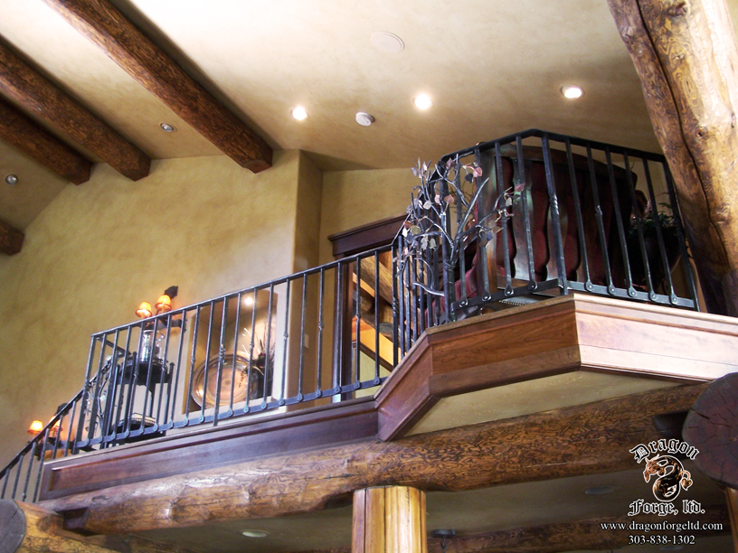 Metal Aspen Tree Null Posts with Forged Aspen Leaves Balcony
