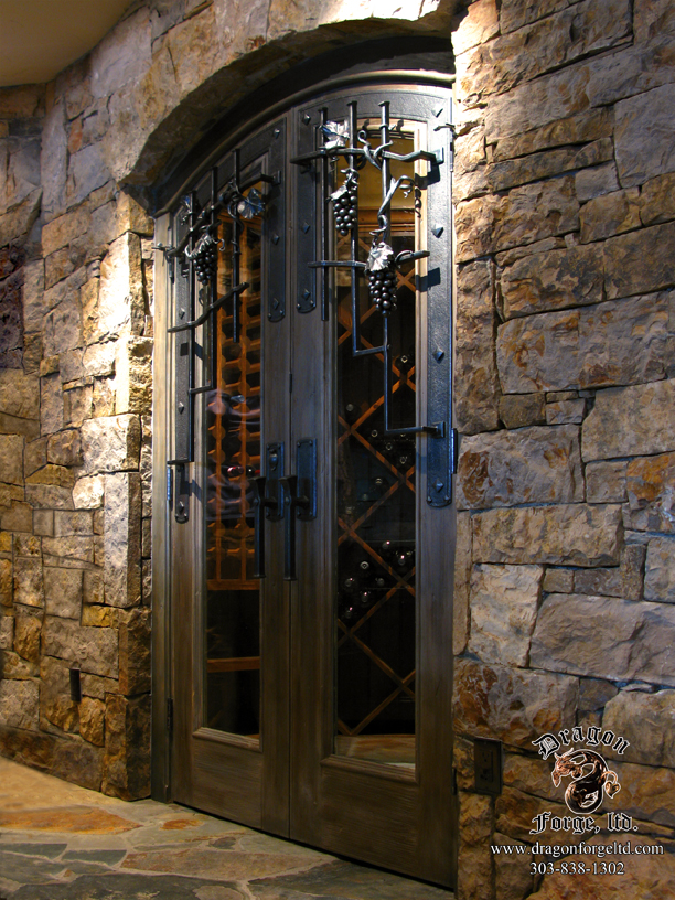 Wine Cellar Grill with Custom Forged Hardware