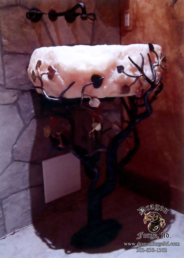 Aspen Tree Sink Base with Onyx Sink