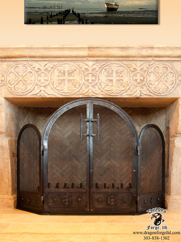 Crusader's Cross theme Arched Fireplace Screen