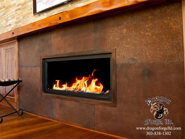 Rusted Steel Plate Fire Surround Dragon Forge Ltd